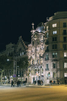 Lighted Casa Batllo at night, Barcelona, Spain - TAMF01934