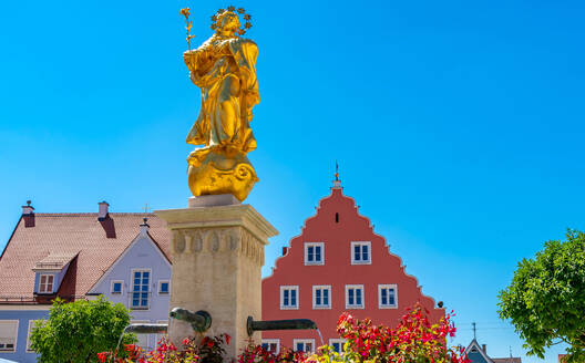 Low angle view of St. Mary's Column against clear blue sky at Bavaria, Germany - SPCF00432