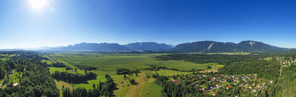 Panoramic view of Murnauer Moos in Upper Bavaria, Germany - LHF00672