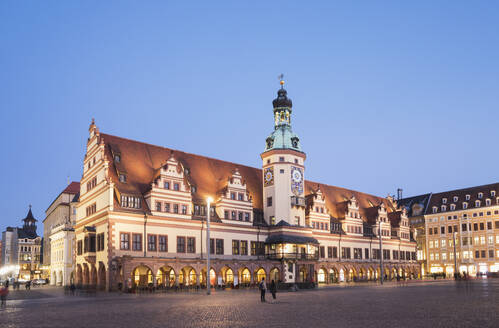 Low angle view of Town Hall Tower against clear blue sky in Leipzig at dusk, Germany - GWF06208