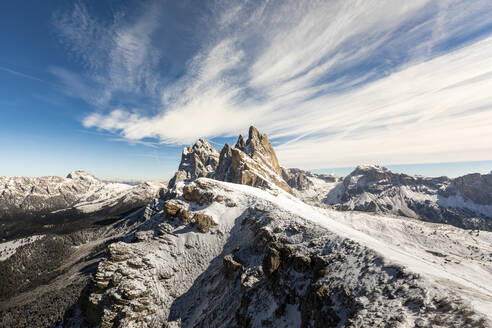 Seceda peak and mountains covered with snow against sky, Italy - WPEF01672