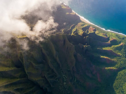 Aerial view of tall mountain formation near the pacific ocean, Hawaii, U.S.A. - AAEF00393