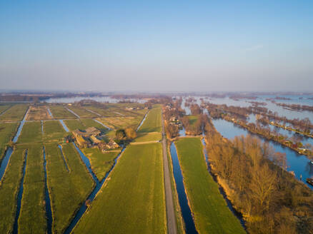 Aerial view of Vinkeveen Lakes in countryside of the Netherlands - AAEF00666