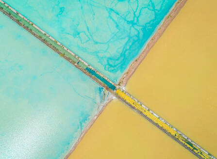 Aerial abstract view of colourful saline lakes, Cagliari, Sardinia - AAEF00735