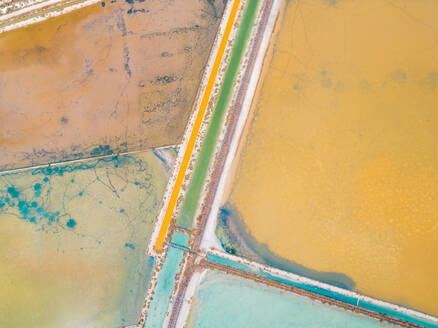 Aerial abstract view of colourful saline lakes, Cagliari, Sardinia. - AAEF00741
