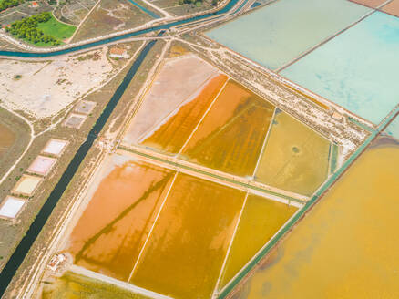 Aerial abstract view of colourful saline lakes, Cagliari, Sardinia - AAEF00744