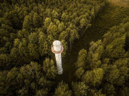 Aerial view of a lighthouse in the middle of forest coast in Estonia. - AAEF01020