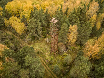 Aerial view of a rusty tower in the middle of the forest in Estonia. - AAEF01035