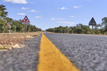 Surface level of warthog crossing sign by road against sky, Mpumalanga, South Africa - VEGF00448