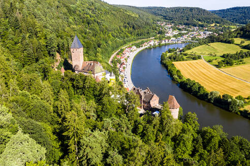 Aerial view of Zwingenberg Castle on mountain by Neckar River, Hesse, Germany - AMF07247