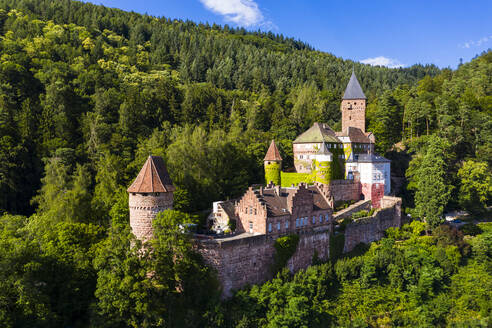 Zwingenberg Castle amidst trees against blue sky in town, Odenwald, Germany - AM07253