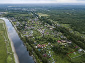 Aerial view of Ladoga canals against sky at Shlisselburg - KNTF02995
