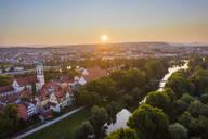 Aerial view of buildings in Stadtamhof against sky during sunrise, Bavaria, Germany - SIEF08853