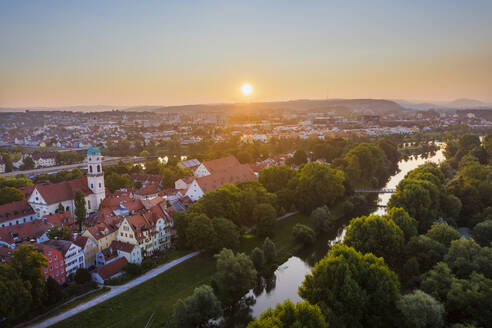Aerial view of buildings in Stadtamhof against sky during sunrise, Bavaria, Germany - SIEF08853