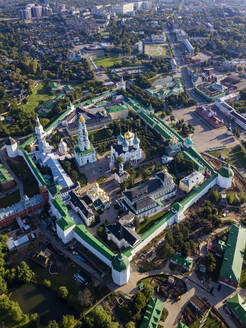 Drone view of Trinity Lavra of St. Sergius in town, Moscow, Russia - KNTF03014
