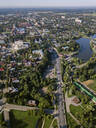 Drone view of Sergiev Posad town against clear sky, Moscow, Russia - KNTF03027