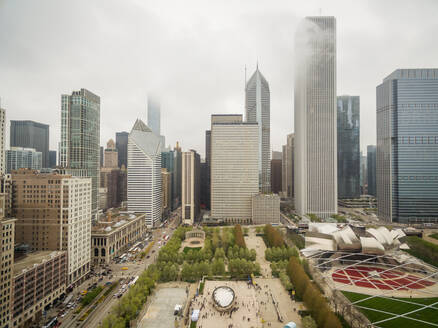 Aerial view of mist covering tall building downtown Chicago, USA - AAEF01166