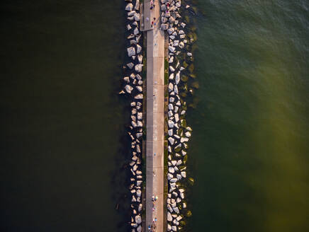 Aerial view of artificial causeway on lake Michigan , Chicago, USA. - AAEF01172