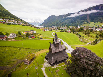 Aerial view of Hopperstad Stave church, Norway - AAEF01265