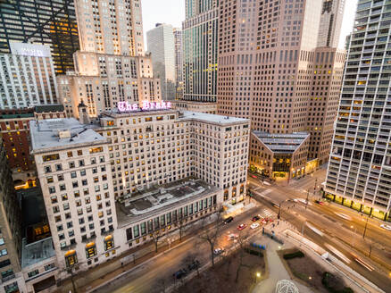 Aerial view of The Drake Hilton hotel, Chicago, USA - AAEF01286