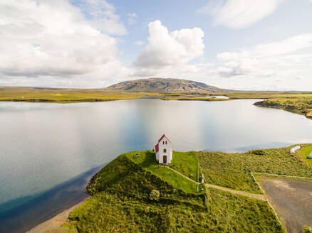 Aerial view of Ulfljotsvatn Church at natural landscape, Iceland - AAEF01343