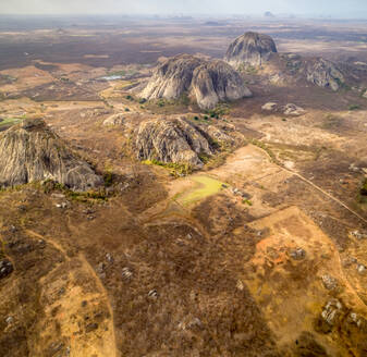 Aerial view of rock mountain formation on arid area, Ceara, Brazil - AAEF01403
