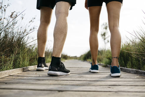 Rear view of joggers standing on wooden walkway - JRFF03641