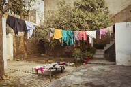 Laundry drying on clothesline in backyard - BLEF14398