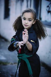 Mixed race girl practicing martial arts - BLEF14599