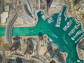 Aerial view of Dubai Marina with moored boats and skyscrapers, UAE - AAEF02339