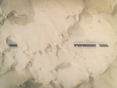 Aerial abstract view of road covered by sand in the desert, Abu Dhabi, UAE - AAEF02342