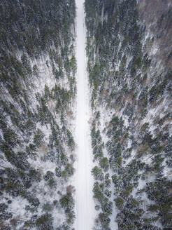 Aerial view of an empty road covered with snow in the nordic forest in Estonia - AAEF02482