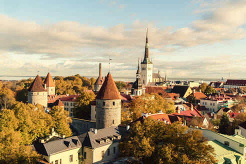 View of the old city with St. Olaf's Church and the old city walls, Tallinn, Estonia - TAMF02116