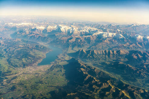 Aerial view of landscape and Alps, south eastFrance - TAMF02161