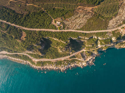 Aerial view of roads on the sea side in Batroun, Lebanon - AAEF02739