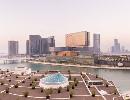 ABU DHABI, U.A.E - 9 JUNE 2017 : View of the canal and Cleveland Clinic in Abu Dhabi, U.A.E. - AAEF02802
