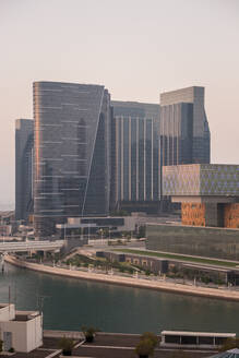 View of the canal and modern buildings in Dhabi, U.A.E. - AAEF03213