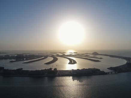 Aerial view of The Palm Jumeirah in Dubai at sunset, United Arab Emirates - AAEF03237