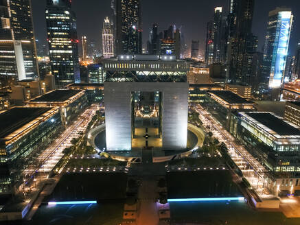 Aerial view of The Dubai International Finance Center at night, United Arab Emirates. - AAEF03333
