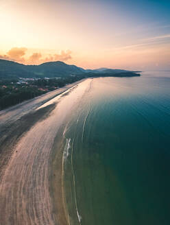 Aerial view of tropical beach at sunset - AAEF03603