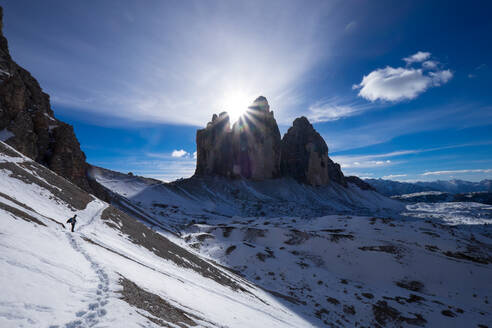 Tre Cime di Lavaredo and the trail around them, Auronzo, Belluno, Veneto, Dolomites, Italy, Europe - RHPLF01104