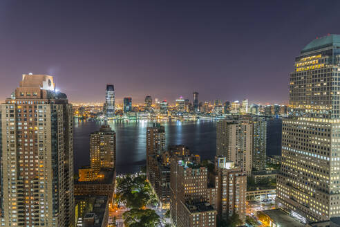 Lower Manhattan and Jersey City in New Jersey across Hudson River, New York, United States of America, North America - RHPLF01320