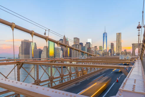 Brooklyn Bridge over East River, Lower Manhattan skyline, including Freedom Tower of World Trade Center, New York, United States of America, North America - RHPLF01323