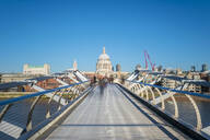 Millennium Bridge (London Millennium Footbridge) over River Thames, St. Paul's Cathedral in background, London, England, United Kingdom, Europe - RHPLF01464
