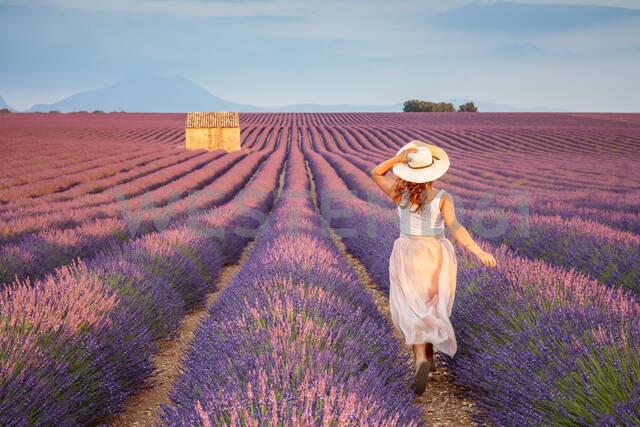 Woman with hat running in lavender fields, Plateau de Valensole, Alpes-de-Haute-Provence, Provence-Alpes-Cote d'Azur, France, Europe - RHPLF01491 - RHPL/Westend61