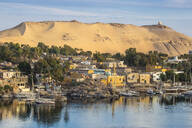 View of The River Nile and Nubian village on Elephantine Island, Aswan, Upper Egypt, Egypt, North Africa, Africa - RHPLF01999