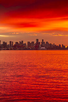 View of Vancouver Skyline from North Vancouver at sunset, British Columbia, Canada, North America - RHPLF02185