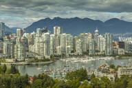 View of Vancouver skyline as viewed from Mount Pleasant District, Vancouver, British Columbia, Canada, North America - RHPLF02191