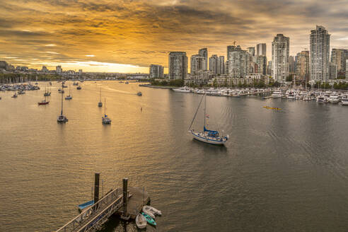 View of Vancouver skyline and False Creek as viewed from Cambie Street Bridge, Vancouver, British Columbia, Canada, North America - RHPLF02194