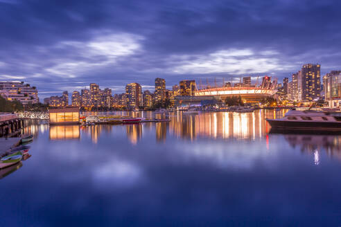 View of False Creek and Vancouver skyline, including BC Place, Vancouver, British Columbia, Canada, North America - RHPLF02197